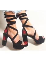 Platform Topuk Ayakkabı--siyah